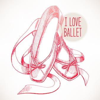 Belles chaussures de pointe roses dessinées à la main avec de longs rubans