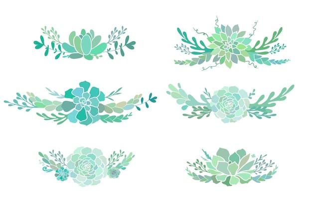 Belles compositions florales avec des plantes succulentes boutonnières vectorielles avec de succulentes fleurs à feuilles persistantes