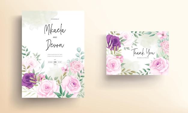 Belles conceptions d'invitation de mariage avec de beaux ornements de fleurs