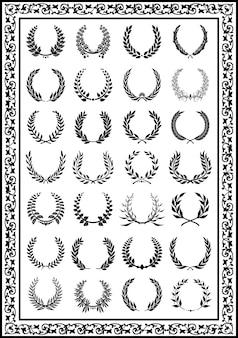 Belles couronnes de laurier mis en couleur noire
