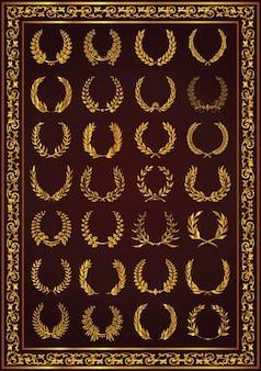 Belles couronnes de laurier sertie de couleur or