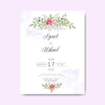 Belles et élégantes cartes d'invitation de mariage floral