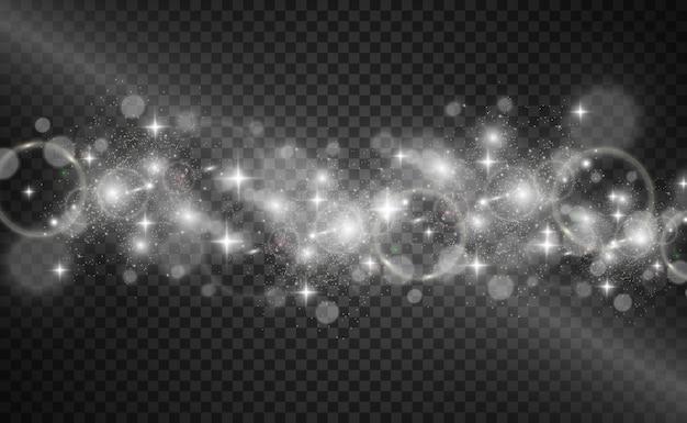 De belles étincelles brillent avec une lumière spéciale scintille sur un fond transparent motif abstrait de noël