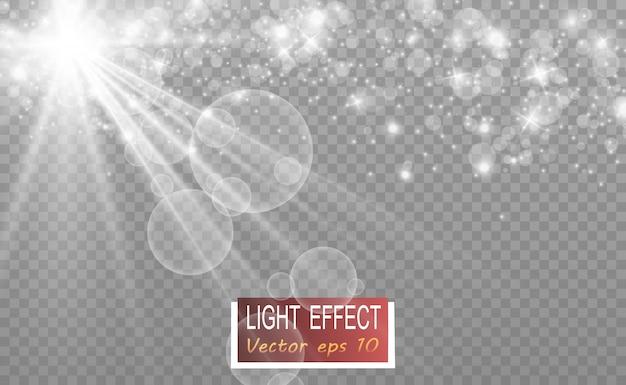 De belles étincelles brillent avec une lumière spéciale. scintille sur un fond transparent.