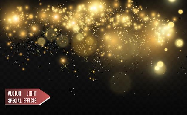 De belles étincelles brillent d'une lumière spéciale. le vecteur brille sur un fond transparent. modèle abstrait de noël. une belle illustration pour la carte postale. l'arrière-plan de l'image. luminaires.
