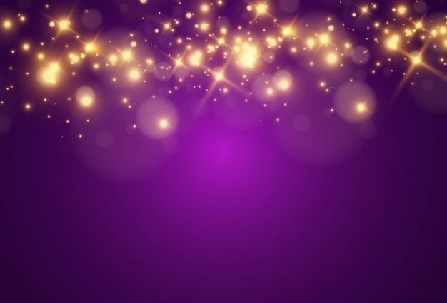 Belles étincelles lumineuses sur fond transparent.