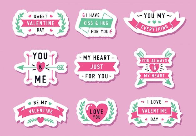 Belles étiquettes de la saint-valentin