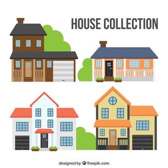 Belles façades de maisons établies en design plat