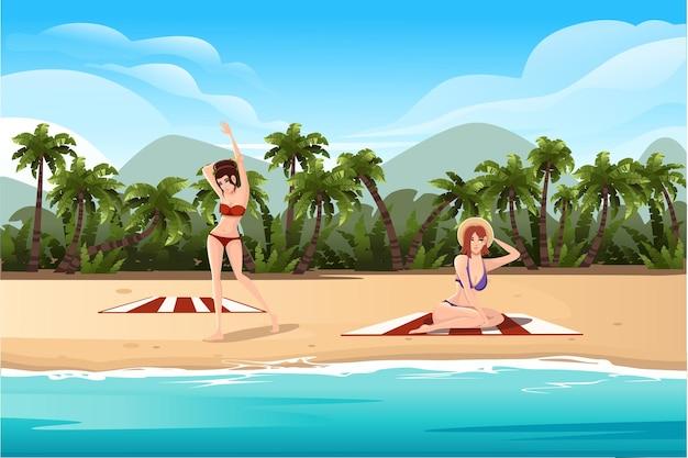 Belles femmes allongées sur des serviettes de plage paysage tropical de la côte belle plage de bord de mer avec des palmiers et des plantes par une bonne journée ensoleillée illustration vectorielle plane.