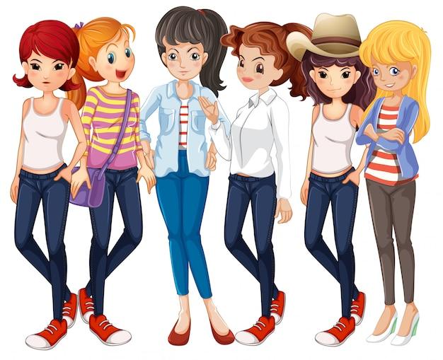 Belles femmes portant des jeans