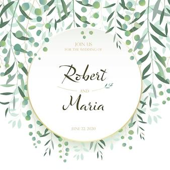 Belles feuilles carte d'invitation de mariage floral.