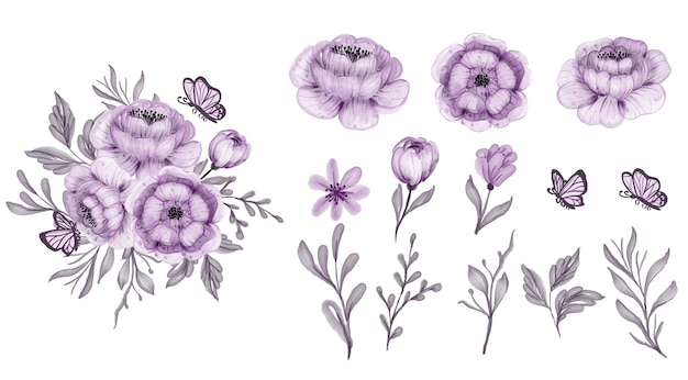 Belles feuilles isolées pourpre floral et fleur aquarelle clip-art