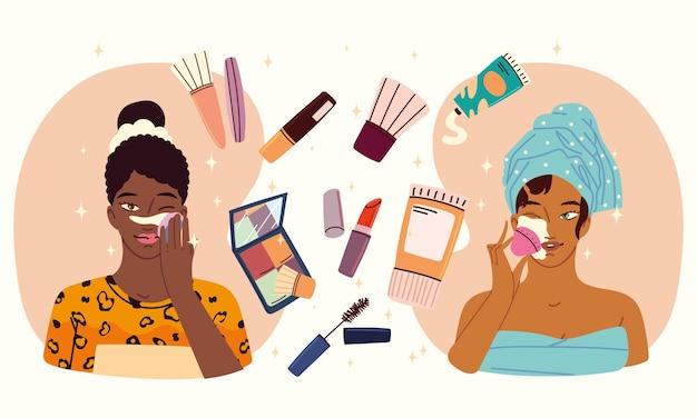 Belles filles appliquant le maquillage