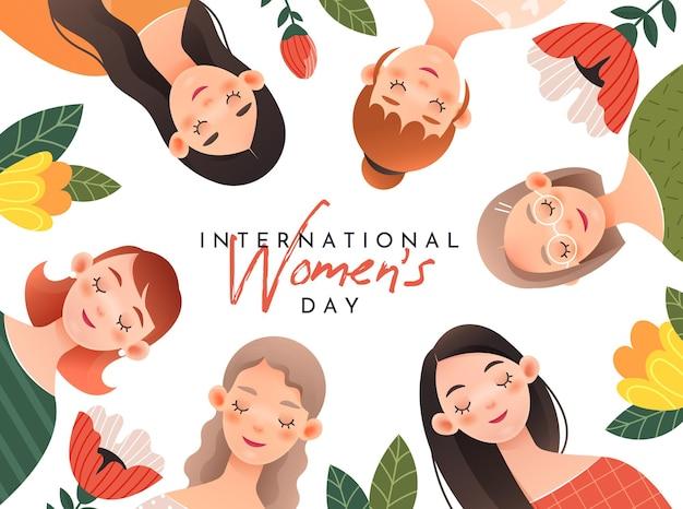 Belles filles sur carte de voeux pour la journée internationale de la femme (8 mars).