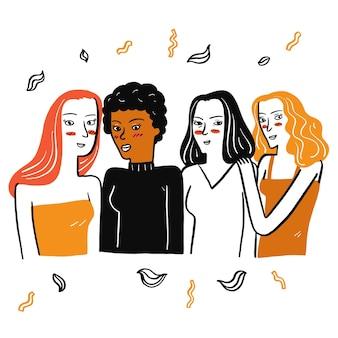 De belles filles de différentes nationalités se réunissent