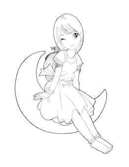 Belles filles mignonnes dessinées à la main heureuse jeune fille adolescente dessin animé doodle femmes isolées