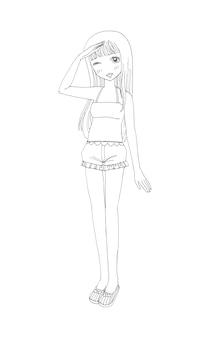 Belles filles mignonnes dessinés à la main heureuse jeune fille adolescente dessin animé griffonnage femmes illustration isolée