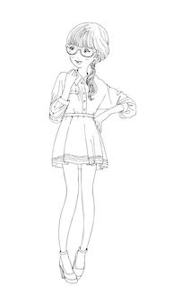 Belles filles mignonnes dessinés à la main heureux jeune fille adolescente dessin animé griffonnage femmes vecteur isolé
