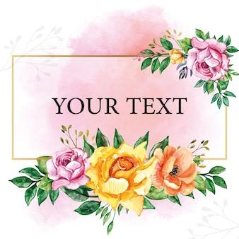 Belles fleurs assorties aquarelle florale avec cadre doré