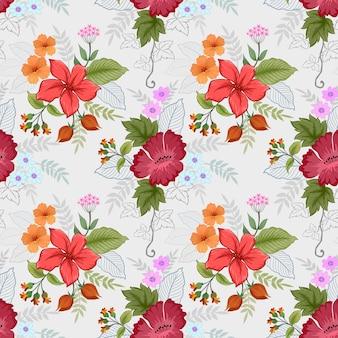 Belles fleurs au motif de couleur vintage.