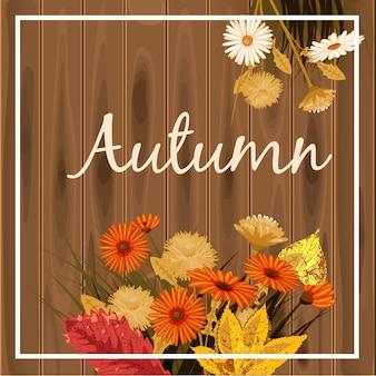 Belles fleurs d'automne, feuilles, bouquet jaune marron
