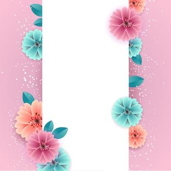 Belles fleurs colorées de printemps avec bannière vide