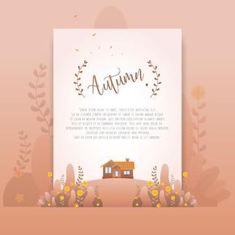 Belles fleurs dégradées d'automne brun floral pour carte d'invitation