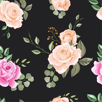 Belles fleurs et feuilles seamless pattern