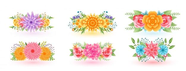 Belles fleurs florales décoratives sertie de feuilles