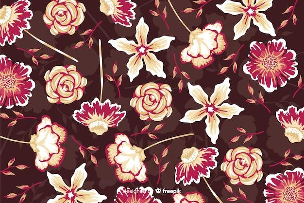 Belles fleurs avec fond de roses et de marguerites
