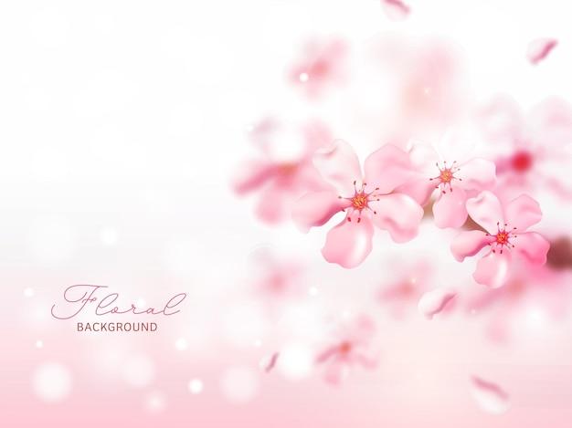 Belles fleurs joyeuses brillantes décorées sur fond rose.