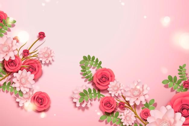 Belles fleurs en papier sur des lumières de bokeh scintillantes