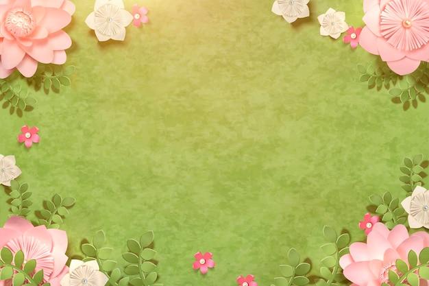 Belles fleurs en papier sur les prairies avec espace copie