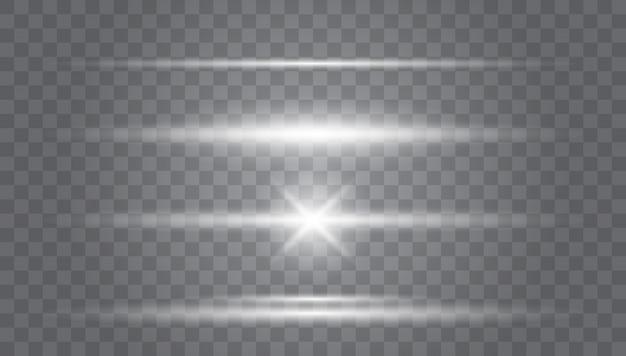 Belles fusées lumineuses. rayures rougeoyantes sur l'obscurité. éblouissement transparent de l'objectif.