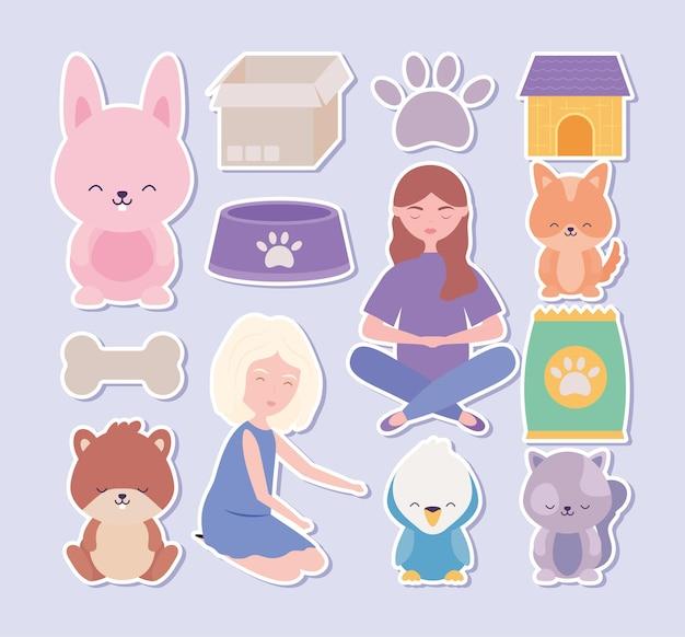 Belles icônes d'animaux de compagnie