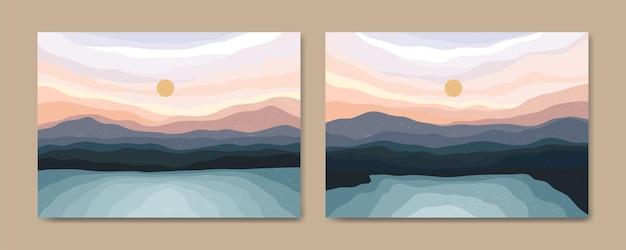 Belles illustrations d'affiche de paysage minimaliste esthétique contemporain