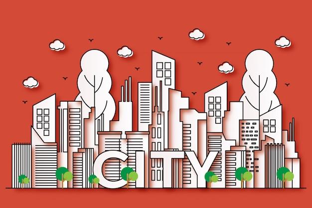 Belles illustrations urbaines avec style papier avec des arbres