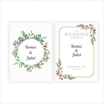 Belles invitations de mariage avec des cadres d'or et de fleurs