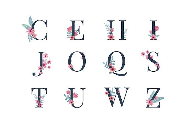 Belles lettres avec des fleurs