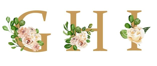 Belles lettres de vacances dorées décorées de fleurs aquarelles