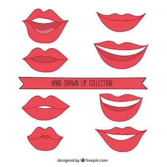 Belles lèvres dessinées à la main