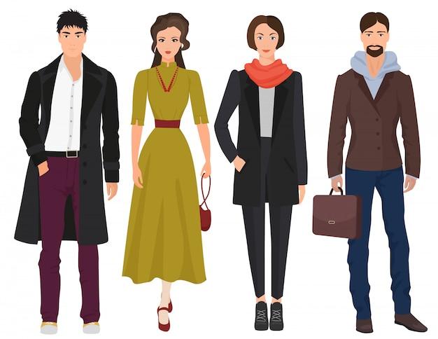 Belles personnes en vêtements de printemps automne