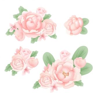 Belles pivoines texturées, bouquets et éléments, illustration vectorielle
