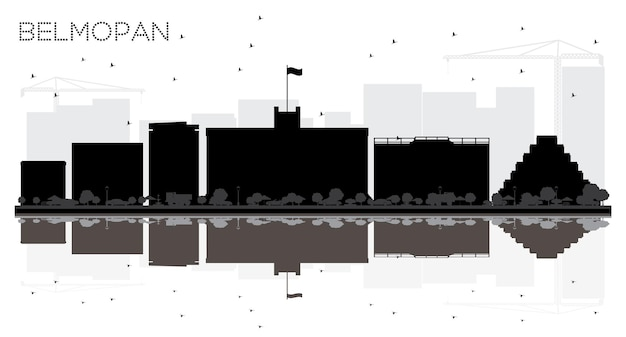 Belmopan belize city skyline noir et blanc silhouette avec réflexions vector illustration