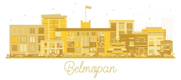 Belmopan belize city skyline silhouette avec bâtiments dorés isolé sur blanc.