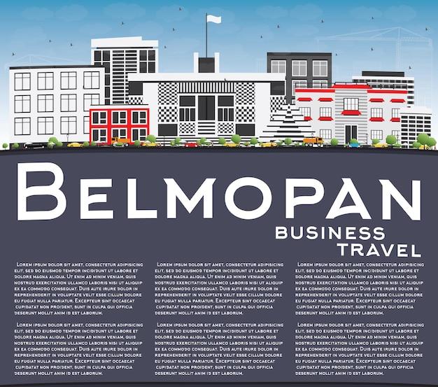 Belmopan skyline avec bâtiments gris, ciel bleu et espace de copie. illustration vectorielle. concept de voyage d'affaires et de tourisme à l'architecture moderne. image pour la bannière de présentation et le site web.