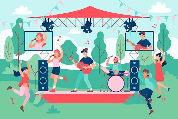 Bend ayant un concert en plein air