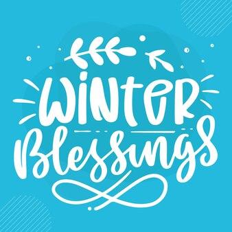 Bénédictions d'hiver conception de vecteur de lettrage d'hiver premium