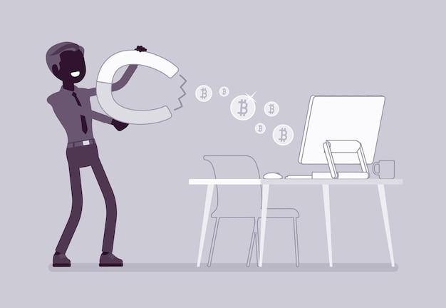 Bénéfice commercial en ligne. homme d'affaires attirant avec des pièces magnétiques provenant d'un ordinateur, propriétaire d'entreprise gagnant de l'argent grâce à un projet internet. illustration de dessin animé de style plat et ligne art vectoriel, silhouette noire