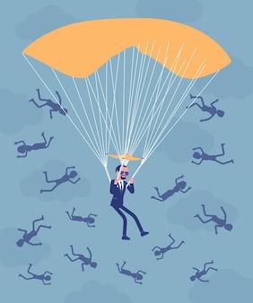 Bénéfice de parachute doré pour homme d'affaires. un cadre dirigeant de haut niveau licencié reçoit un paiement sécurisé important de la part de l'entreprise, les employés qui tombent sont licenciés.